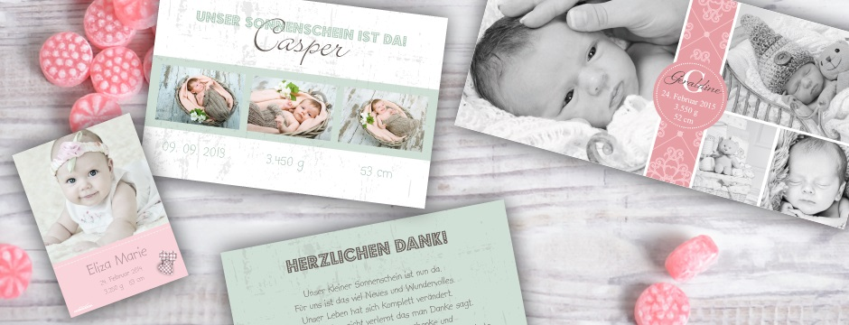 Danksagungen zur Geburt - Karten-mal-anders.de